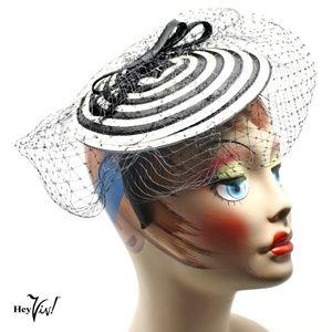 Fascinator Hat - Black & White Swirl w Veil- Retro
